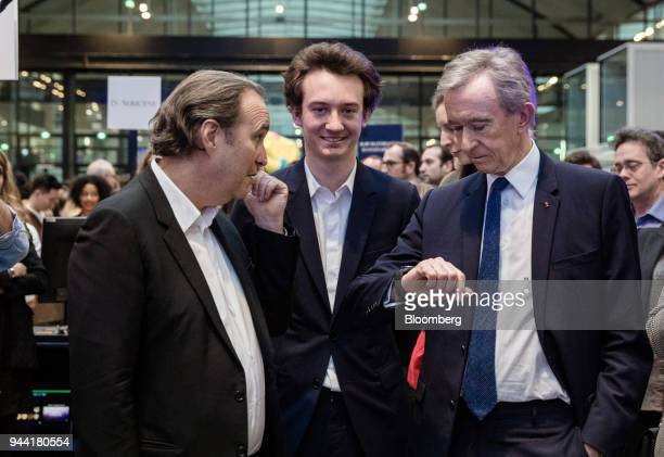 Xavier Niel billionaire and deputy chairman of Iliad SA left Frederic Arnault head of connected technologies at Tag Heuer International SA center and...