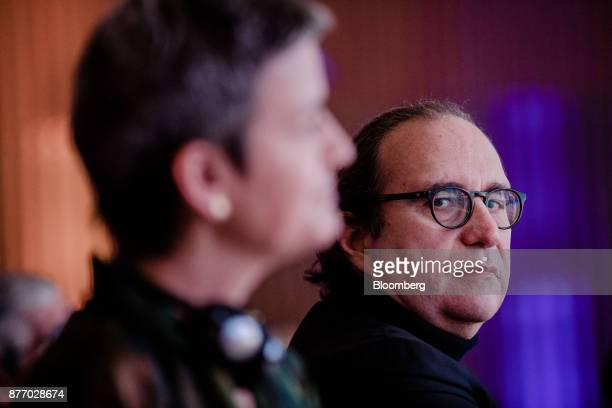 Xavier Niel billionaire and deputy chairman of Iliad SA looks on while sat in the audience during the Rendezvous de Bercy economic debate at the...