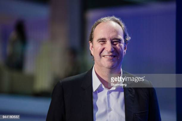 Xavier Niel billionaire and deputy chairman of Iliad SA reacts during the inauguration of the LVMH startup accelerator at Station F technology campus...
