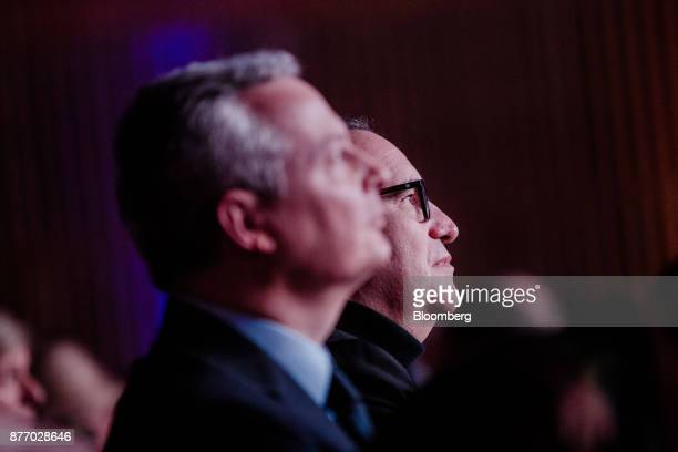 Xavier Niel billionaire and deputy chairman of Iliad SA sits in the audience during the Rendezvous de Bercy economic debate at the French Ministry of...
