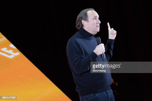 Xavier Niel billionaire and vice chairman of Iliad SA gestures during the BPI France forum in Paris France on Thursday Oct 12 2017 Even as Catalonia...