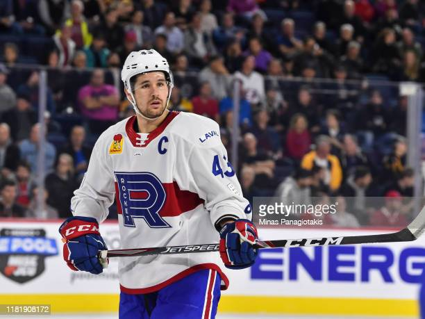 Xavier Ouellet of the Laval Rocket looks on against the Providence Bruins at Place Bell on October 16 2019 in Laval Canada The Laval Rocket defeated...