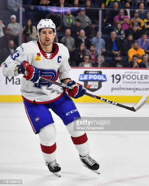 Xavier Ouellet of the Laval Rocket skates against the Providence Bruins at Place Bell on October 16, 2019 in Laval, Canada. The Laval Rocket defeated...