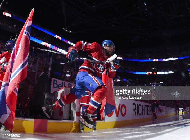 Xavier Ouellet of the Montreal Canadiens takes to the ice prior to the NHL game against the Arizona Coyotes at the Bell Centre on February 10, 2020...