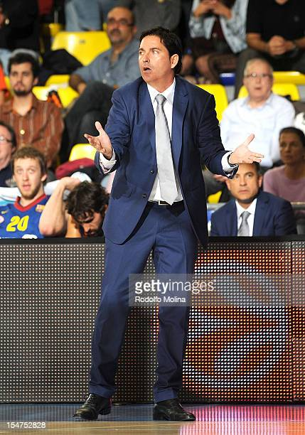 Xavier Pascual Head Coach of FC Barcelona Regal reacts during the 20122013 Turkish Airlines Euroleague Regular Season Game Day 3 between FC Barcelona...