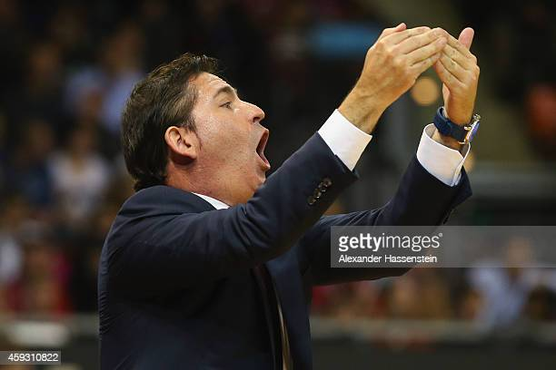 Xavier Pascual Vives head coach of Barcelona reacts during the Euroleague Basketball match between FC Bayern Munich and FC Barcelona at Audi Dome on...
