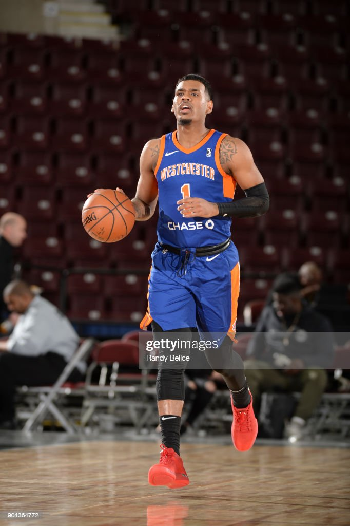 Xavier Rathan-Mayes #1 of the Westchester Knicks handles the ball against the Agua Caliente Clippers at NBA G League Showcase Game 19 on January 12, 2018 at the Hershey Centre in Mississauga, Ontario Canada.