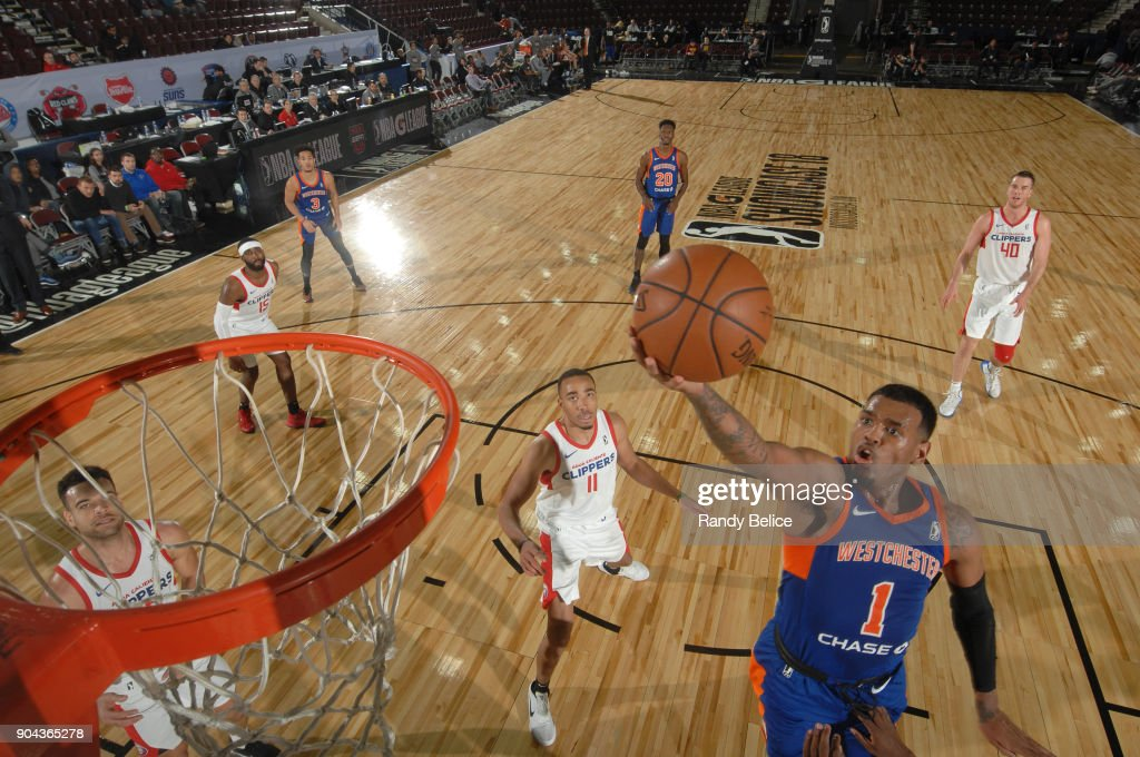 Xavier Rathan-Mayes #1 of the Westchester Knicks shoots the ball against the Agua Caliente Clippers at NBA G League Showcase Game 19 on January 12, 2018 at the Hershey Centre in Mississauga, Ontario Canada.
