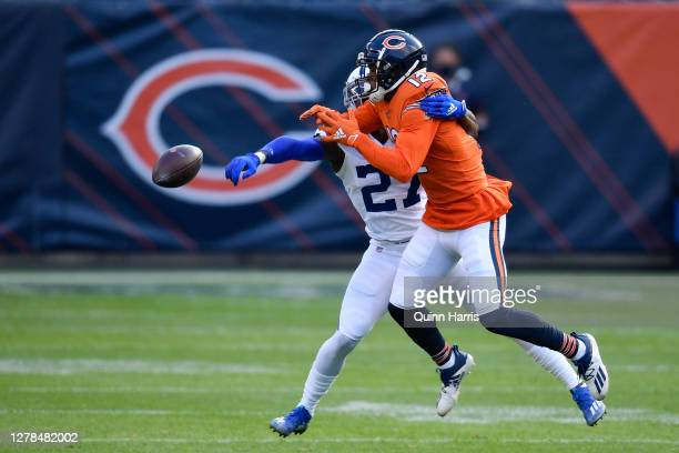 Xavier Rhodes of the Indianapolis Colts breaks up a pass intended for Allen Robinson of the Chicago Bears in the first quarter at Soldier Field on...