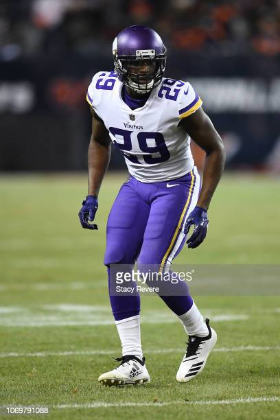 Xavier Rhodes of the Minnesota Vikings anticipates a play during a game against the Chicago Bears at Soldier Field on November 18 2018 in Chicago...