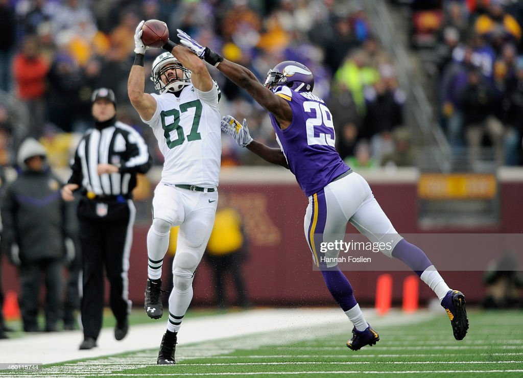 Xavier Rhodes #29 of the Minnesota Vikings breaks up a pass intended for Eric Decker #87 of the New York Jets during the fourth quarter of the game on December 7, 2014 at TCF Bank Stadium in Minneapolis, Minnesota. The Vikings defeated the Jets 30-24.