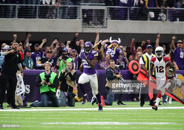 Xavier Rhodes of the Minnesota Vikings carries the ball after intercepting a pass in the second quarter of the game on November 20 2016 at US Bank...