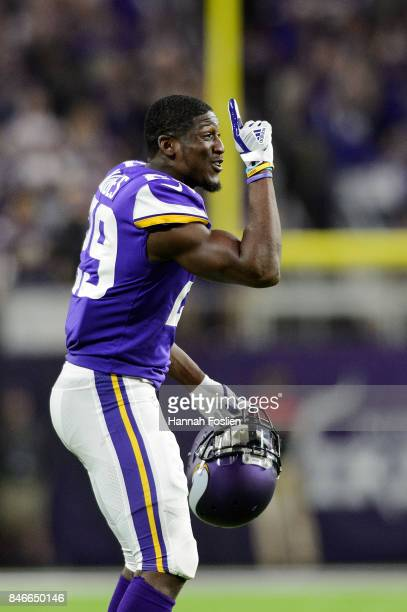 Xavier Rhodes of the Minnesota Vikings celebrates a touchdown against the New Orleans Saints during the game on September 11 2017 at US Bank Stadium...