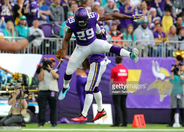Xavier Rhodes of the Minnesota Vikings celebrates after holding the Miami Dolphins on third down in the first quarter of the game at US Bank Stadium...