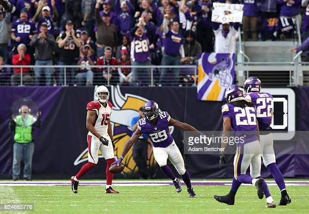 Xavier Rhodes of the Minnesota Vikings celebrates his second interception of the game against the Arizona Cardinals on November 20 2016 at US Bank...