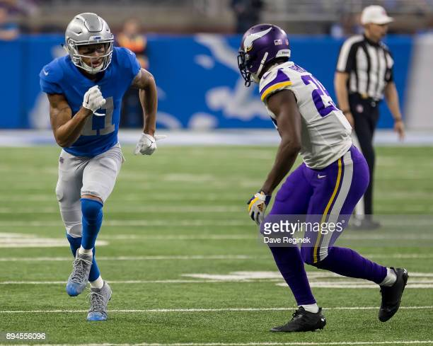 Xavier Rhodes of the Minnesota Vikings defends Marvin Jones Jr #11 of the Detroit Lions during an NFL game at Ford Field on November 23 2016 in...
