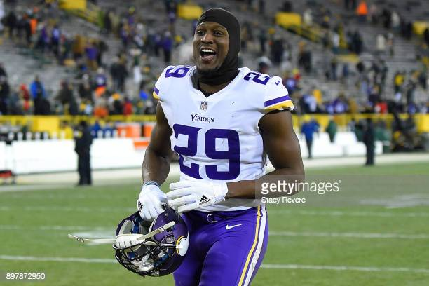 Xavier Rhodes of the Minnesota Vikings leaves the field following a game against the Green Bay Packers at Lambeau Field on December 23 2017 in Green...