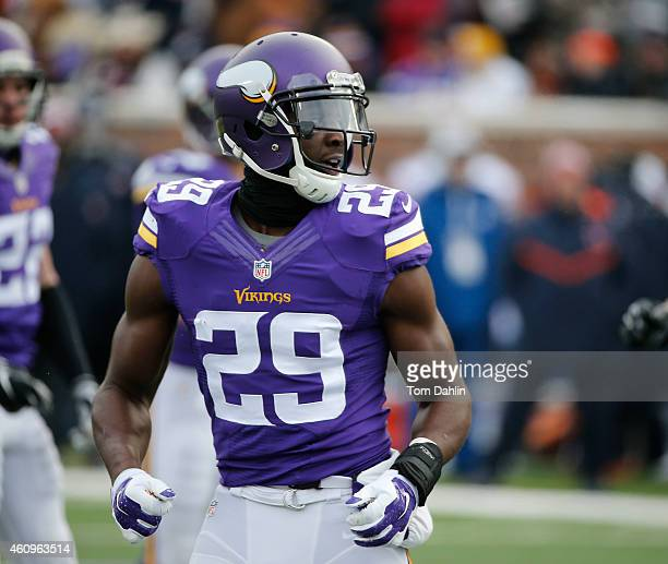 Xavier Rhodes of the Minnesota Vikings lines up during an NFL game against the Chicago Bears at TCF Stadium on December 28 2014 in Minneapolis...