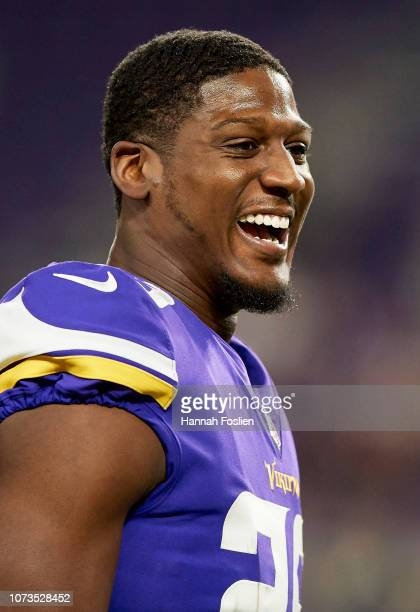 Xavier Rhodes of the Minnesota Vikings looks on before the game against the Green Bay Packers at US Bank Stadium on November 25 2018 in Minneapolis...