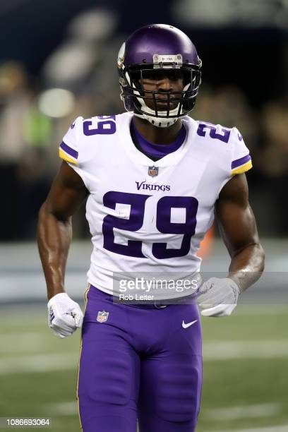 Xavier Rhodes of the Minnesota Vikings looks on during the game against the Seattle Seahawks at CenturyLink Field on December 10 2018 in Seattle...