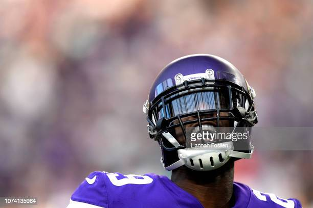 Xavier Rhodes of the Minnesota Vikings reacts after teammate Anthony Barr sacked Ryan Tannehill of the Miami Dolphins in the third quarter of the...