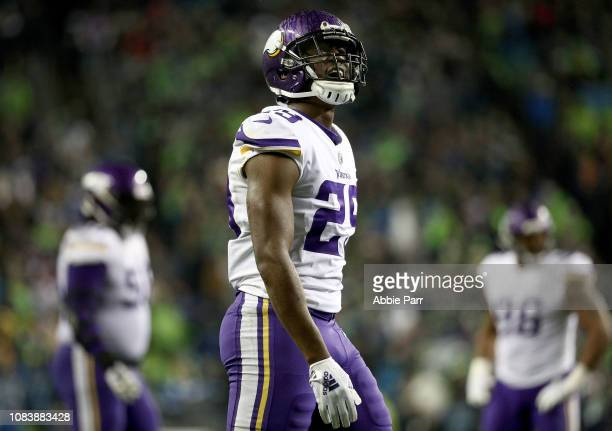 Xavier Rhodes of the Minnesota Vikings reacts against the Seattle Seahawks in the fourth quarter during their game at CenturyLink Field on December...
