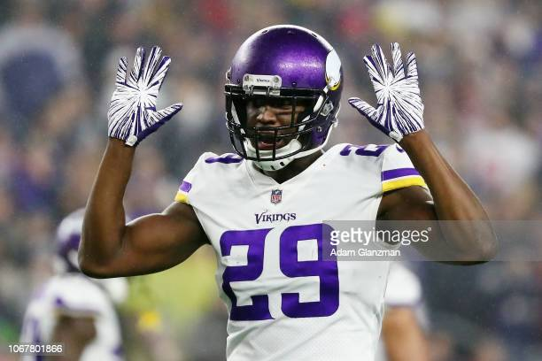 Xavier Rhodes of the Minnesota Vikings reacts during the second half against the New England Patriots at Gillette Stadium on December 2 2018 in...