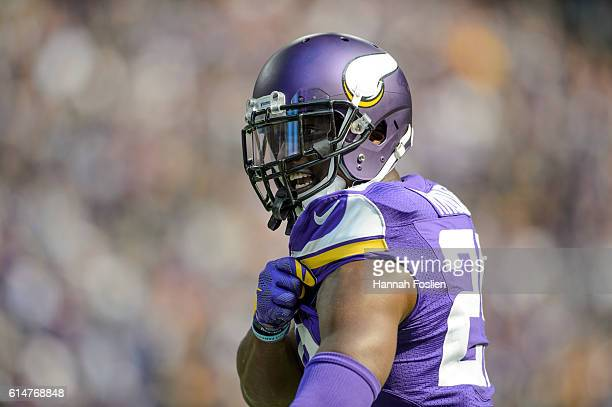 Xavier Rhodes of the Minnesota Vikings reacts to a play against the Houston Texans during the game on October 9 2016 at US Bank Stadium in...