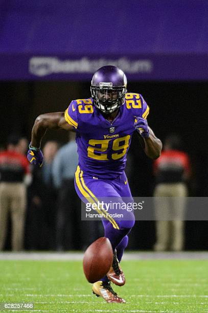 Xavier Rhodes of the Minnesota Vikings runs after a fumbled ball during the game against the Dallas Cowboys on December 1 2016 at US Bank Stadium in...