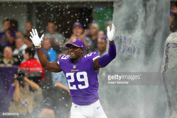 Xavier Rhodes of the Minnesota Vikings runs on field during introductions of the game against the New Orleans Saints on September 11 2017 at US Bank...