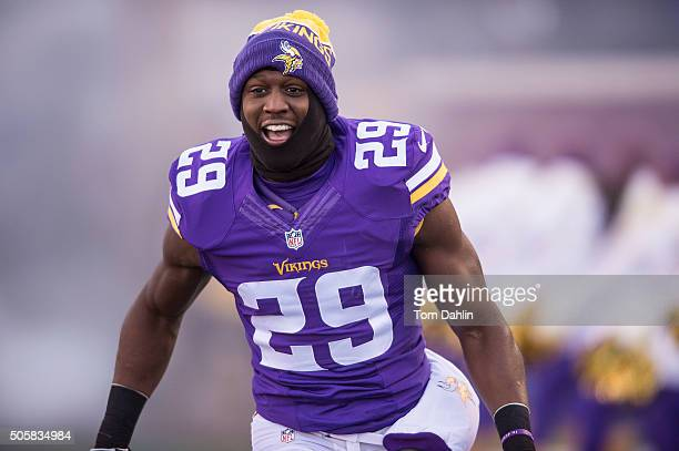 Xavier Rhodes of the Minnesota Vikings runs onto the field during an NFL game against the Seattle Seahawks at TCF Bank Stadium January 10 2016 in...