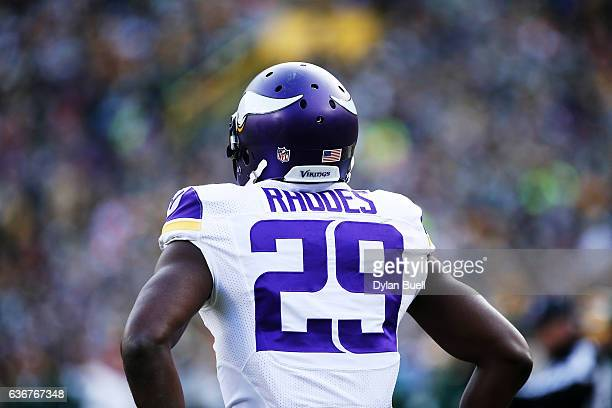 Xavier Rhodes of the Minnesota Vikings stands on the field in the third quarter against the Green Bay Packers at Lambeau Field on December 24 2016 in...