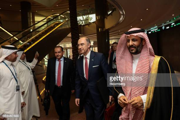 Xavier Rolet chief executive officer of London Stock Exchange Group Plc center arrives to join UK Prime Minister Theresa May for a meeting inside the...