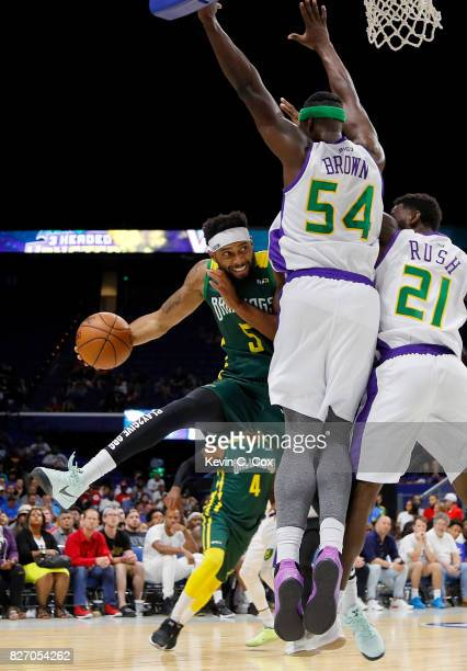 Xavier Silas of the Ball Hogs is blocked as he drives to the basket by Kwame Brown of the 3 Headed Monsters at Rupp Arena on August 6 2017 in...