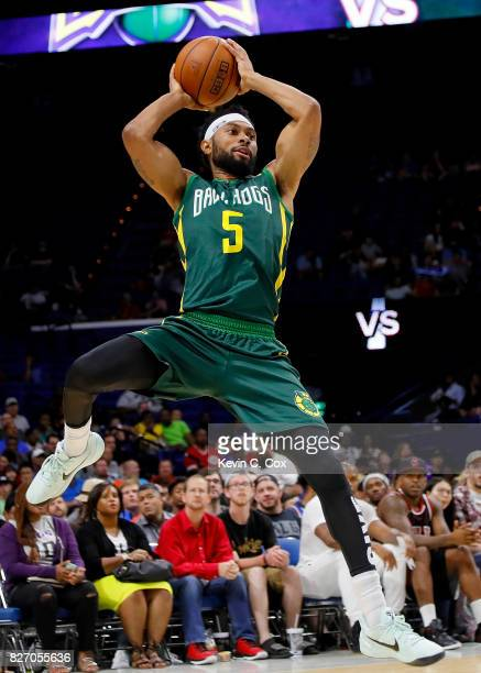 Xavier Silas of the Ball Hogs passes the ball during the game against the 3 Headed Monsters during week seven of the BIG3 three on three basketball...