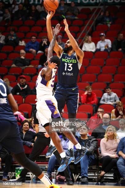 Xavier Silas of the Iowa Wolves shoots against Jawun Evans of the Northern Arizona Suns in an NBA GLeague game on December 1 2018 at the Wells Fargo...