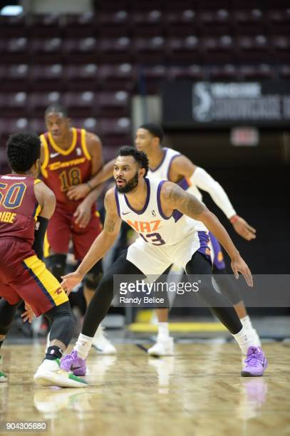 Xavier Silas of the Northern Arizona Suns defends against the Canton Charge during the GLeague Showcase on January 12 2018 at the Hershey Centre in...