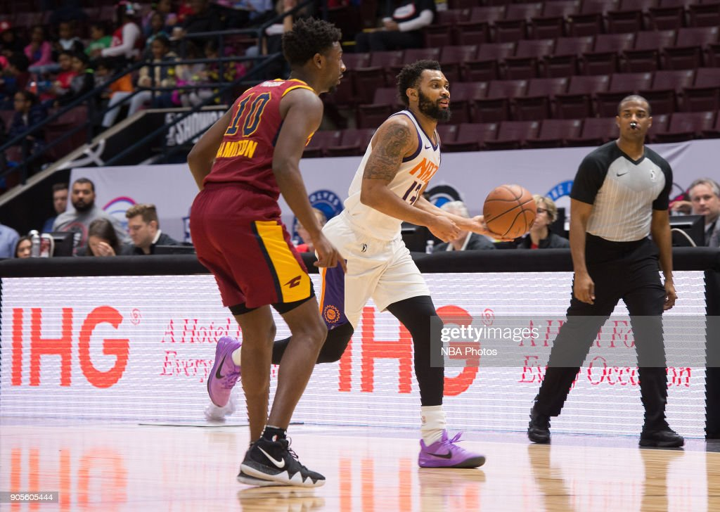 Xavier Silas #13 of the Northern Arizona Suns dribbles the ball against the Canton Charge during the NBA G-League Showcase on January 12, 2018 at the Hershey Centre in Mississauga, Ontario Canada.
