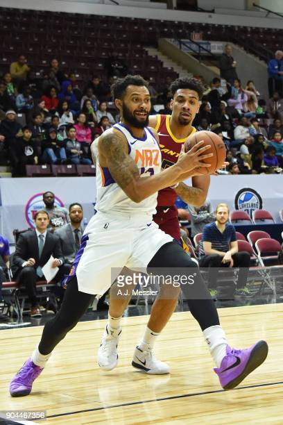 Xavier Silas of the Northern Arizona Suns drives to the basket against the Canton Charge during the NBA GLeague Showcase on January 12 2018 at the...