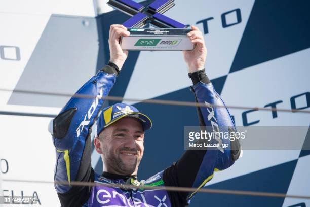 Xavier Simeon of Belgium and AVINTIA ESPONSORAMA RACING celebrates on the podium at the end of the MotoE race during the MotoGp of San Marino -...