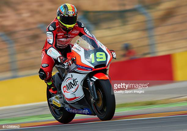 Xavier Simeon of Belgium and QMMF Racing Team in action during the moto2 race during the MotoGP of Spain Race at Motorland Aragon Circuit on...