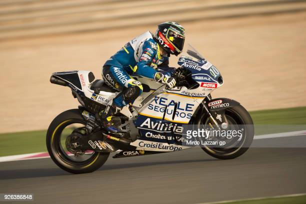 Xavier Simeon of Belgium and Reale Avintia Racing heads down a straight during the Moto GP Testing Qatar at Losail Circuit on March 2 2018 in Doha...
