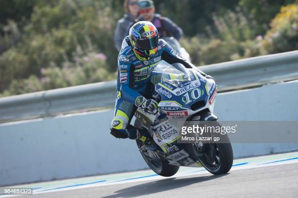 Xavier Simeon of Belgium and Reale Avintia Racing heads down a straight during the MotoGp of Spain Free Practice at Circuito de Jerez on May 4 2018...
