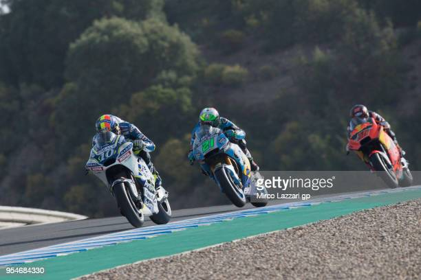Xavier Simeon of Belgium and Reale Avintia Racing leads the field during the MotoGp of Spain Free Practice at Circuito de Jerez on May 4 2018 in...
