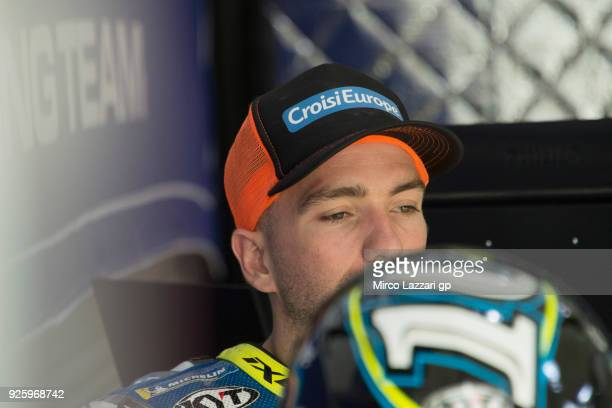 Xavier Simeon of Belgium and Reale Avintia Racing looks on in box during the MotoGP Testing Qatar at Losail Circuit on March 1 2018 in Doha Qatar