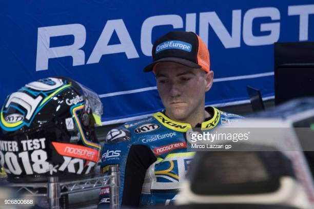 Xavier Simeon of Belgium and Reale Avintia Racing looks on in box during the Moto GP Testing Qatar at Losail Circuit on March 3 2018 in Doha Qatar