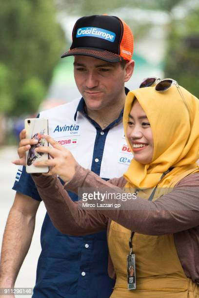 Xavier Simeon of Belgium and Reale Avintia Racing poses with fans in paddock during the MotoGP testing at Sepang Circuit on January 28 2018 in Kuala...