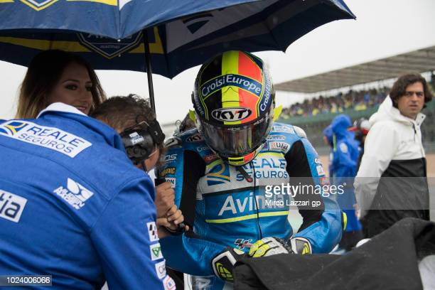 Xavier Simeon of Belgium and Reale Avintia Racing prepares to start on the grid during the MotoGP race during the MotoGp Of Great Britain Race at...