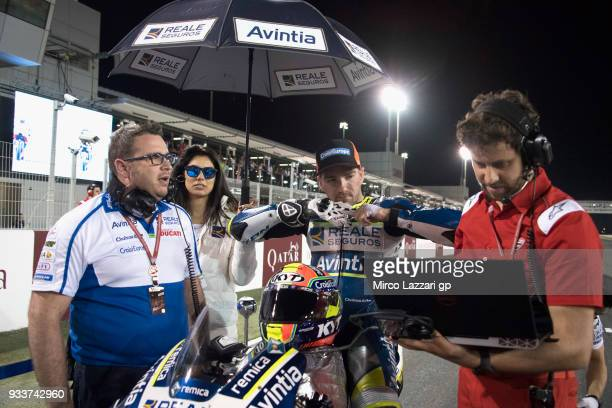 Xavier Simeon of Belgium and Reale Avintia Racing prepares to start on the grid during the MotoGP race during the MotoGP of Qatar Race at Losail...
