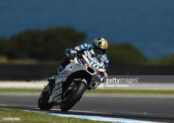 Xavier Simeon of Belgium and Reale Avintia Racing rides during free practice for the 2018 MotoGP of Australia at Phillip Island Grand Prix Circuit on...